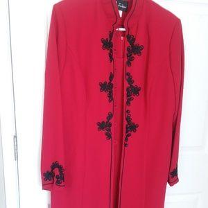 LONG SLEEVE RED HOT DRESS/COAT - 2 PIECE